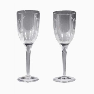 Sourire de l 'Ange Champagne Glasses by Marc Lalique, 1948, Set of 2