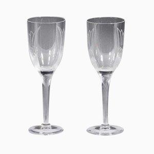 Sourire de l 'Ange Champagne Glasses by Marc Lalique, 1948, Set of 2