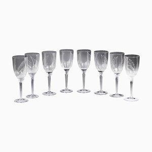 Copas de champán Sourire de l 'Ange de Marc Lalique, 1948. Juego de 8