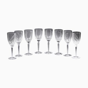 Sourire de l 'Ange Champagne Glasses by Marc Lalique, 1948, Set of 8