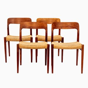 Model 75 Teak & Paper Cord Chairs by Niels O. Møller, 1960s, Set of 4