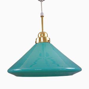 Lampe à Suspension Vintage en Verre Turquoise