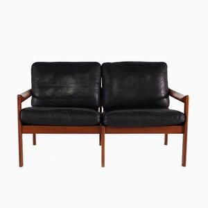 Dänisches Sofa aus Leder & Teak von Illum Wikkelsø für Niels Eilersen, 1960er