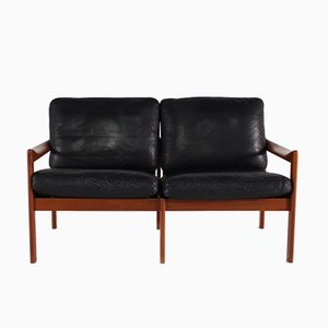Danish Leather & Teak Sofa by Illum Wikkelsø for Niels Eilersen, 1960s
