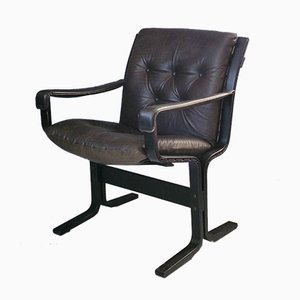 Sedia Siesta in faggio e pelle di Ingmar Relling per Westnofa, anni '60