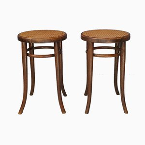 Antique Beech & Rattan Stools from Thonet, 1900s, Set of 2