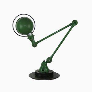 Lámpara de escritorio industrial verde con dos brazos de Jean Louis Domecq para Jieldé, años 50