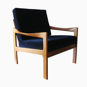 Blue Velvet & Teak Lounge Chair by Illum Wikkelslø for Eilersen, 1960s