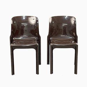 Sillas Selene italianas en marrón de Vico Magistretti para Artemide, años 60. Juego de 4
