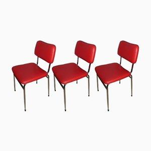 Sedie da pranzo in metallo cromato e similpelle rossa di Mayer, anni '60, set di 3
