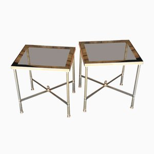 Tables Basses Hollywood Regency en Laiton, France, 1970s, Set de 2