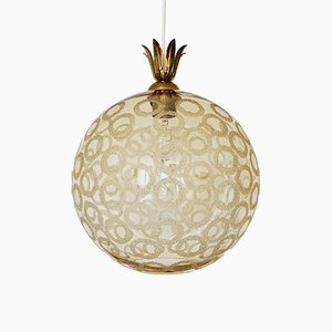 Bubble Glass & Brass Pendant Lamp, 1950s