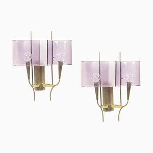 Violet Perspex & Brass Wall Sconces from Stilux, 1960s, Set of 2