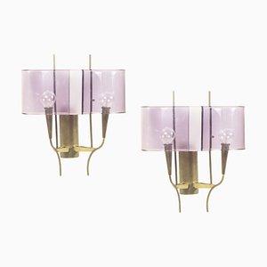 Violette Wandlampen aus Plexiglas & Messing von Stilux, 1960er, 2er Set