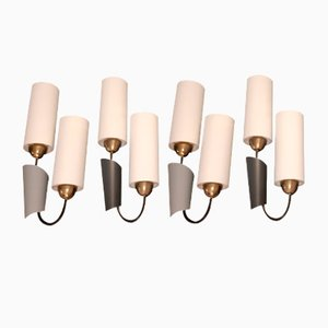 Modernist Brass and Cotton Sconces, 1950s, Set of 4