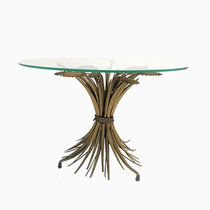 Mesa auxiliar Coco Chanel italiana Mid-Century de vidrio y metal dorado, años 60