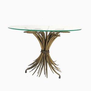 Tavolino Coco Chanel Mid-Century in metallo dorato e vetro, Italia, anni '60