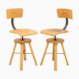 Beech Swivel Chairs, 1930s, Set of 2