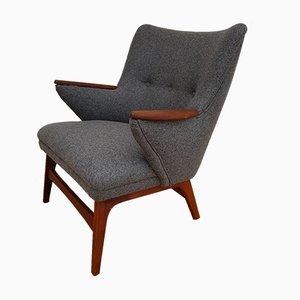 Danish Teak & Wool Armchair, 1960s