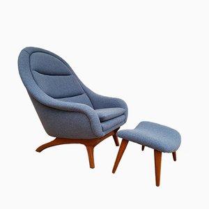 Dänischer Sessel aus Teak & Wolle mit Ottomane, 1960er