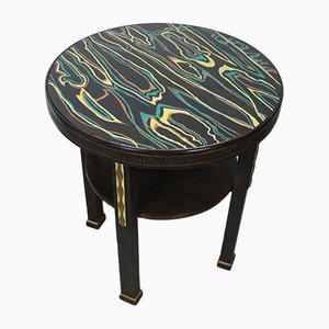 Tavolino da caffè Art Deco piccolo rotondo, anni '30
