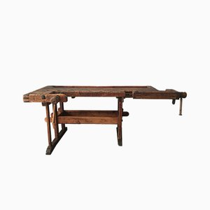 Antique Industrial German Beech Worktable, 1870s