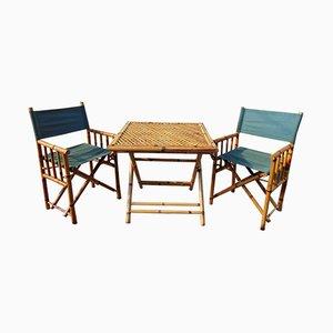 Tavolo vintage in bambù con sedie