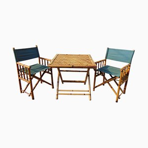 Vintage Bamboo Table & Chairs Set