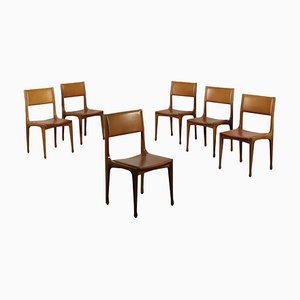 Model 693 Beech & Leatherette Dining Chairs by Carlo de Carli for Cassina, 1960s, Set of 6
