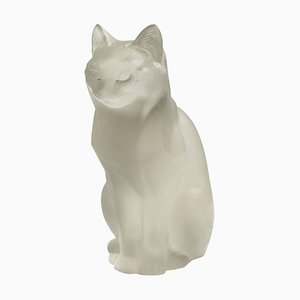 Sculpture Chat Assis en Verre de Lalique, 1960s