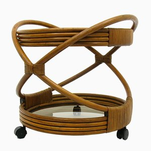 Table d'Appoint Style Scandinave en Rotin, 1970s