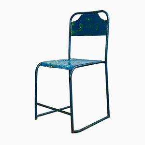 Sedie da giardino Mid-Century in metallo blu, anni '50, set di 4