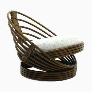 Skandinavischer moderner Armlehnstuhl aus Rattan, 1970er