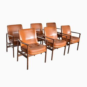 German Rosewood and Aniline Leather Armchairs by Ib Kofod Larsen for Fröscher, 1960s, Set of 6