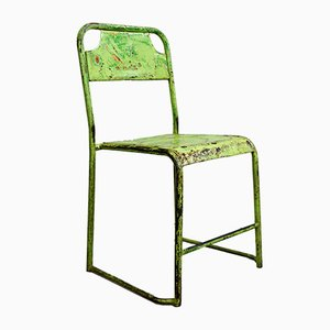 Mid-Century Lime Green Metal Bistro Chairs, 1950s, Set of 4