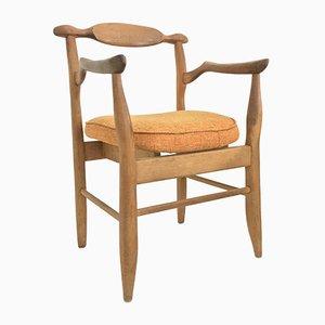 Oak Fumay Bridge Chair by Guillerme et Chambron, 1950s