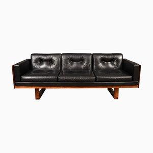 Guvernör 3-Sitzer Sofa aus Leder, Tulpenholz und Palisander von Poul Cadovius für France & Søn, 1960er