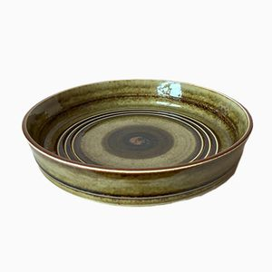 Large Mid-Century Swedish Green Ceramic Bowl by Olle Alberius for Rörstrand