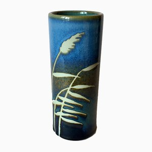Mid-Century Swedish Blue Stoneware Vase by Jackie Lynd for Rörstrand