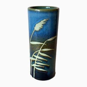 Schwedische Mid-Century Vase aus blauem Steingut von Jackie Lynd für Rörstrand
