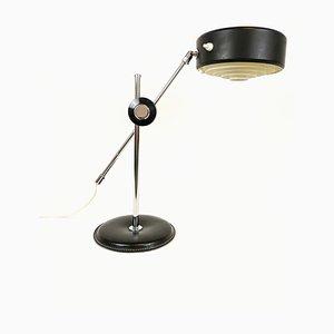 Lampada da scrivania Simris Mid-Century in pelle nera e metallo cromato di Anders Pehrson per Ateljé Lyktan