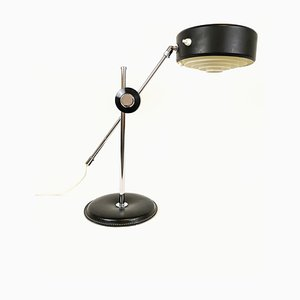 Lámpara de escritorio Simris Mid-Century de cuero negro y cromo de Anders Pehrson para Ateljé Lyktan