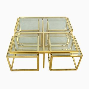French Brass & Glass Nesting Tables from Maison Charles, 1960s