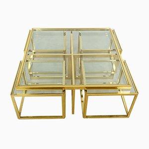 Mesas nido francesas de vidrio y latón de Maison Charles, años 60