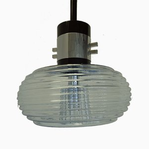 Italian Modern Chrome Plated & Glass Ceiling Lamp from Reggiani, 1970s