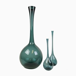 Blue Glass Vases by Arthur Percy for Gullaskruf, 1950s, Set of 3