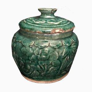 Chinesischer antiker grünglasierter Krug aus Messing mit Deckel, 1600s