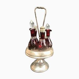Soporte expositor victoriano con cinco recipientes de cristal de Bohemia tallado de Reed & Barton