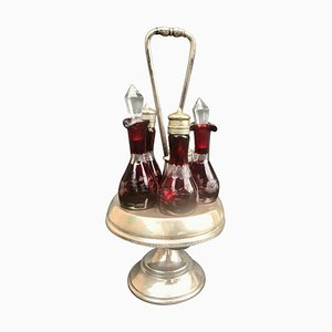 Victorian Ruby Cut Bohemian Glass 5-Piece Cruet-Stand from Reed & Barton