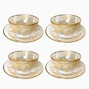 Cuencos antiguos pintados a mano con platos de Lobmeyr. Juego de 4